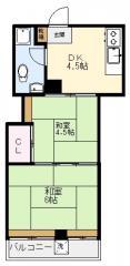賃貸マンション明比ビルの間取り図画像3