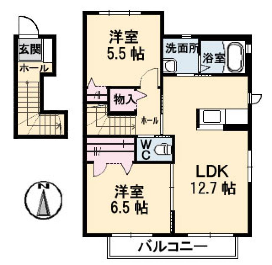 賃貸コーポリコシェーナの2LDK(61.45㎡) 玄関ドアは1Fにあります。 1Fから入って、2Fが居住スペースになっています。画像1